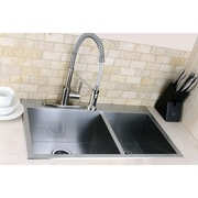 Kingston Brass Uptowne 31.5'' x 20.5'' Self-Rimming 70/30 Offset Double Bowl Kitchen Sink