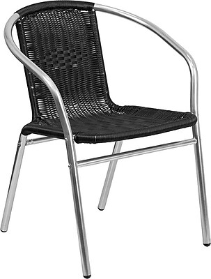 Flash Furniture Black Rattan Commercial Indoor-Outdoor Restaurant Stack Chair, Pack of 4 (4-TLH-020-BK-GG) 2407120