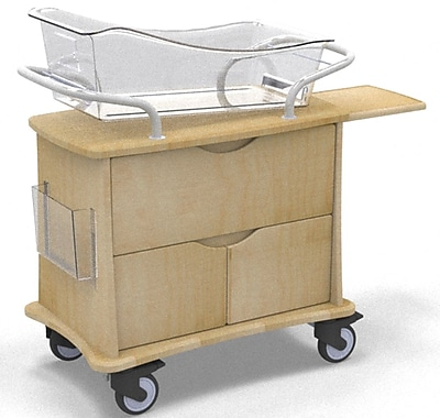 MedViron Hospital Maternity Bassinet, 1-Drawer & 2-Doors, with Chartholder & Chartboard, Fusion Maple (M31-0011-K050)