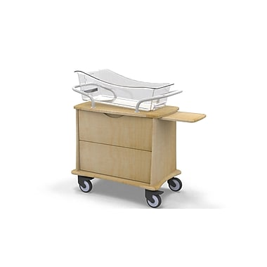 MedViron Hospital Maternity Bassinet, 1-Drawer, with Chartboard, Fusion Maple (M11-0010-K050)