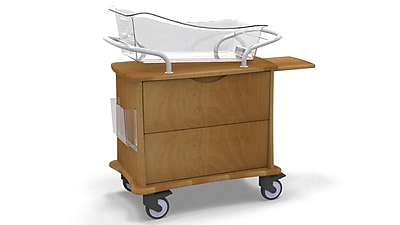MedViron Hospital Maternity Bassinet, 1-Drawer, with Chartholder & Chartboard, Honey Maple (M11-0011-K448)