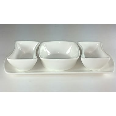 Red Vanilla Ana 3 Section Bowls on Tray