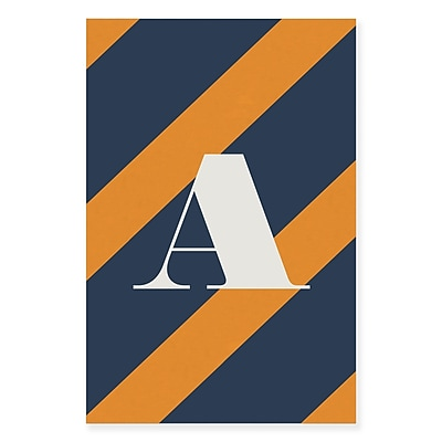 Gillham Studios 'Initial Navy and Orange Striped' Graphic Art on Wrapped Canvas; W