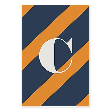 Gillham Studios 'Initial Navy and Orange Striped' Graphic Art on Wrapped Canvas; C