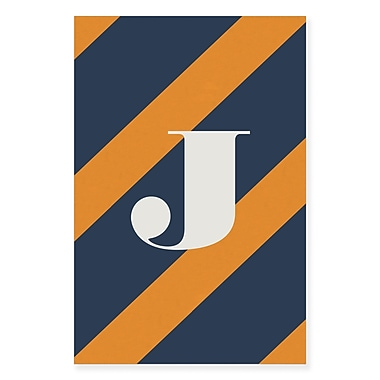 Gillham Studios 'Initial Navy and Orange Striped' Graphic Art on Wrapped Canvas; J