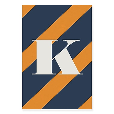 Gillham Studios 'Initial Navy and Orange Striped' Graphic Art on Wrapped Canvas; K
