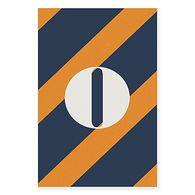 Gillham Studios 'Initial Navy and Orange Striped' Graphic Art on Wrapped Canvas; O
