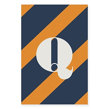 Gillham Studios 'Initial Navy and Orange Striped' Graphic Art on Wrapped Canvas; Q