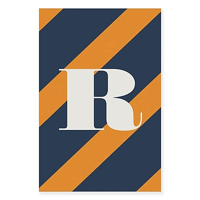 Gillham Studios 'Initial Navy and Orange Striped' Graphic Art on Wrapped Canvas; R