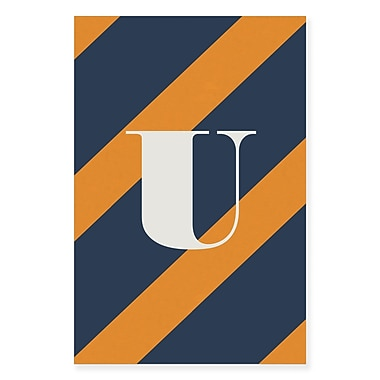 Gillham Studios 'Initial Navy and Orange Striped' Graphic Art on Wrapped Canvas; U