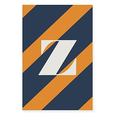 Gillham Studios 'Initial Navy and Orange Striped' Graphic Art on Wrapped Canvas; Z