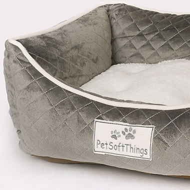 Pet Soft Things Microplush Quilted Dog Bed w/ Removable Pillow; Aqua Gray