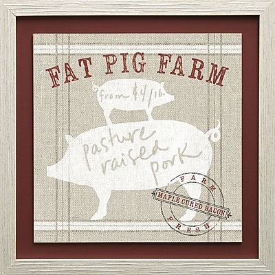 Star Creations Farm Linen Pig by Sue Schlabach Framed Graphic Art