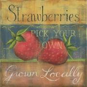 Star Creations Strawberries Burlap Box by Kim Lewis Painting Print