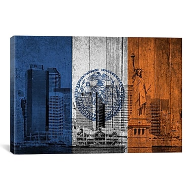 iCanvas Flags New York Boards Statue of Liberty Graphic Art on Canvas; 12'' H x 18'' W x 1.5'' D