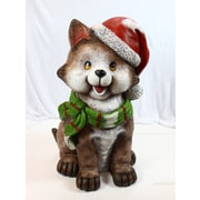Alpine Cat Wearing Santa Hat and Scarf Decor