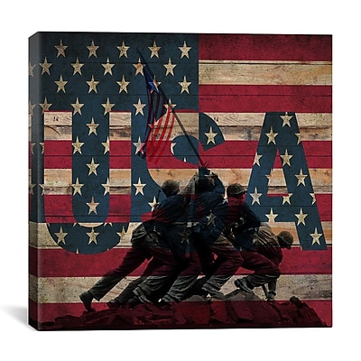 iCanvas USA Flag, Raising the on Iwo Jima, Boards Graphic Art on Canvas; 12'' H x 12'' W x 0.75'' D