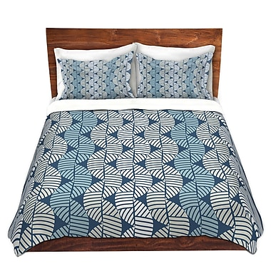 DiaNocheDesigns Waves On Blue Duvet Cover Set; King