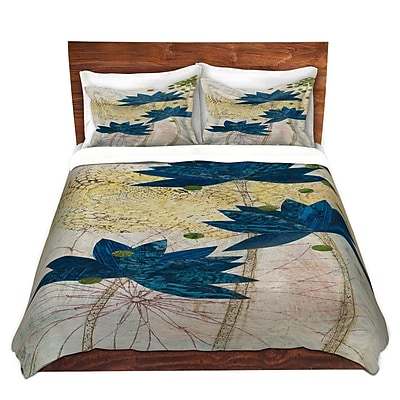 DiaNocheDesigns Blue Lotus Duvet Cover Set; Twin