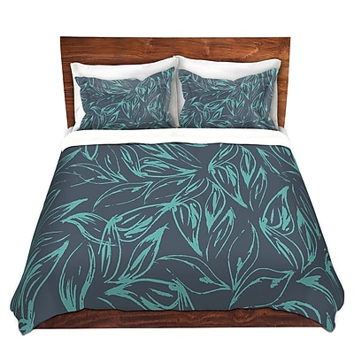 DiaNocheDesigns Luminous Leafy Layers Duvet Cover Set; Twin