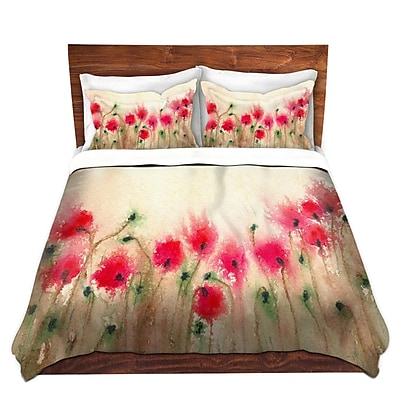 DiaNocheDesigns Field of Poppies Duvet Cover Set; King