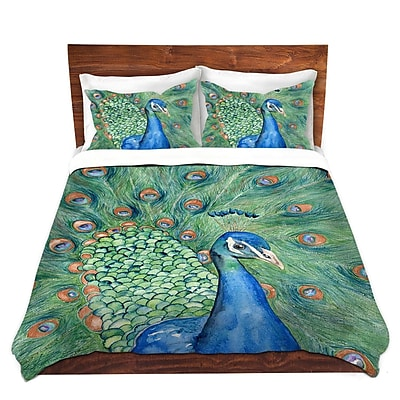 DiaNocheDesigns Splendor Peacock Duvet Cover Set; Queen