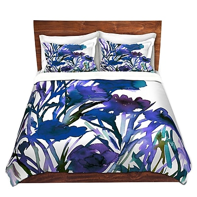 DiaNocheDesigns Petal Thoughts Blue Duvet Cover Set; Queen