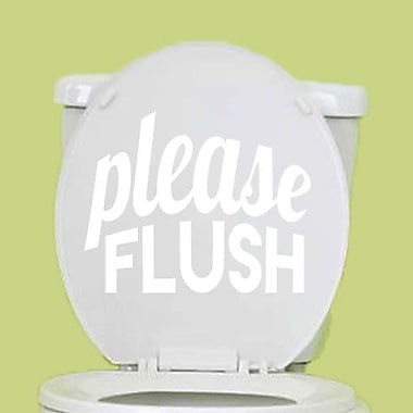 SweetumsWallDecals Please Flush Wall Decal; White
