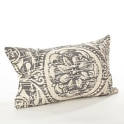 Saro Montpellier Floral Cotton Lumbar Pillow; Gray