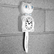 Kit-Cat Kit-Cat Male Clock w/ Bow-Tie; White