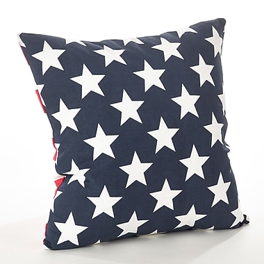 Saro Star Spangled Star and Striped Cotton Throw Pillow; Navy Blue
