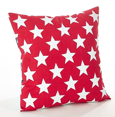 Saro Star Spangled Star and Striped Cotton Throw Pillow; Red