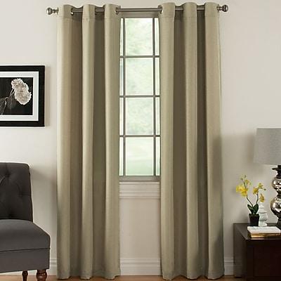 Ardor Home Solid Semi-Sheer Thermal Grommet Curtain Panels (Set of 2); Beige