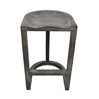 !nspire – Tabouret de comptoir en bois de manguier solide, 30 po, gris