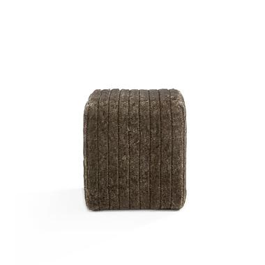 Whi Faux Fur Ottoman, Grey