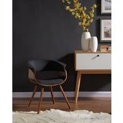 !nspire – Fauteuil d'appoint mi-siècle en tissu/bois cintré, gris charbon