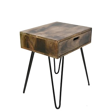 !nspire Natural Burnt Solid Mango Wood/Black Iron Accent table