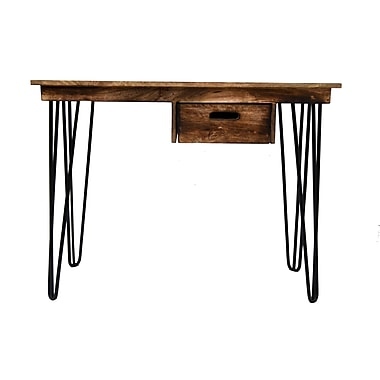 !nspire Natural Burnt Solid Mango Wood/Black Iron Console