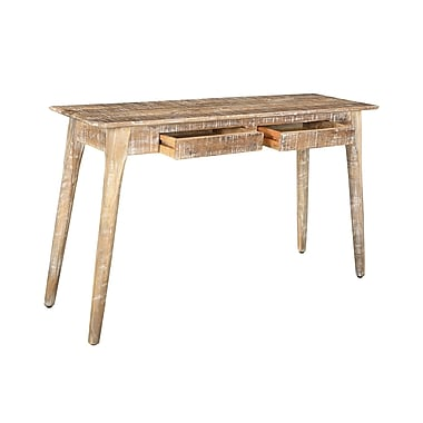 !nspire 2 Drawer Solid Mango Wood Console Table, Distressed Natural