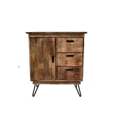 !nspire Natural Burnt Solid Mango Wood/Black Iron Cabinet