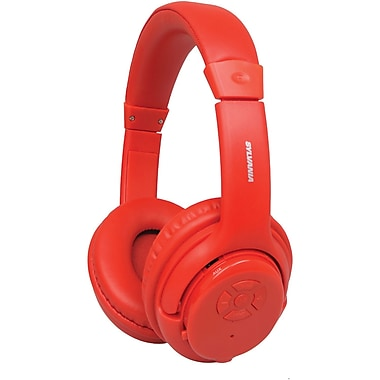 Sylvania Bluetooth Wireless Headphones With Microphone, Red (CURSBT235RED)