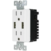 DATACOMM ELECTRONICS 48-0204-WH Decor USB Receptacle