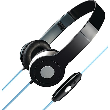 iLive Stereo Designer Headphones With Microphone And Glowing Cable, Black (GPXIAHL75B)