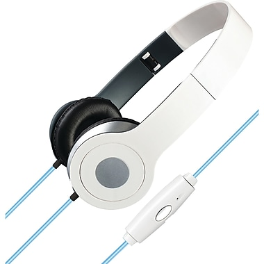 iLive Stereo Designer Headphones With Microphone And Glowing Cable, White (GPXIAHL75W)