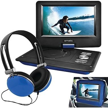 Ematic – Lecteur DVD portatif 10 po avec casque d'écoute et support pour appuie-tête de voiture, bleu (SHAGEPD116BU)