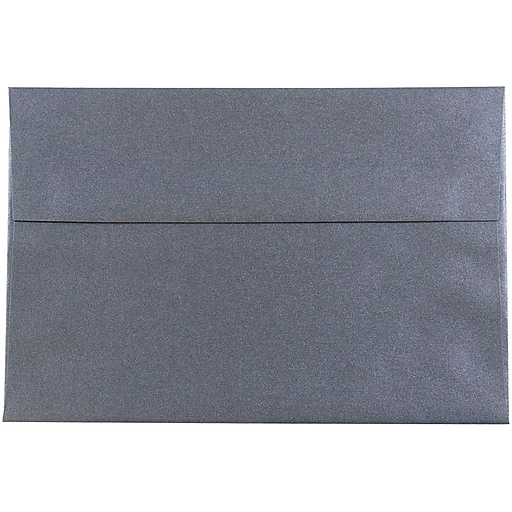JAM Paper® A8 Metallic Invitation Envelopes, 5.5 x 8.125, Stardream Anthracite Black, Bulk 250/Box (9846H)
