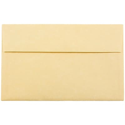 JAM Paper® A10 Invitation Envelopes, 6 x 9.5, Parchment Antique Gold Yellow Recycled, 25/pack (12514)