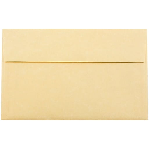 JAM Paper® A10 Parchment Invitation Envelopes, 6 x 9.5, Antique Gold Recycled, 50/Pack (12514I)