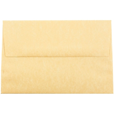 JAM Paper® A8 Invitation Envelopes, 5.5 x 8.125, Parchment Antique Gold Yellow Recycled, 50/pack (16009I)