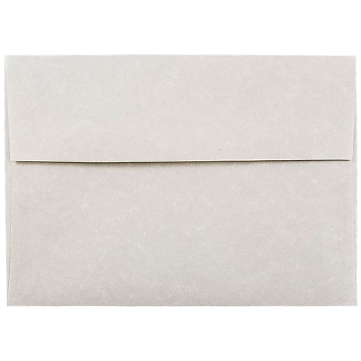 JAM Paper® A7 Parchment Invitation Envelopes, 5.25 x 7.25, Pewter Grey Recycled, Bulk 250/Box (35061H)